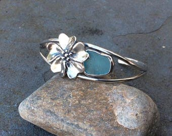 Sea glass jewelry,  Hand formed fine silver flower and bezel set blue sea glass cuff bracelet