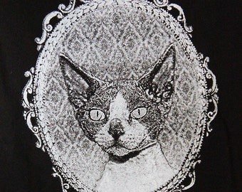 Cat top, screenprinted, devon rex, cat