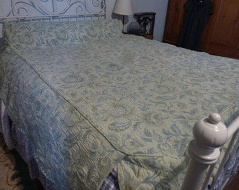 French Vintage Fitted Brocade Bedspread Small 3/4 Double Bed - Blue and Gold Shabby Chic Roses on a Pastel Sage Background