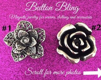 Flower Magnetic Brooch Scarf Pin for Scarves, Blouses, Dresses and Shawls, Magnetic button
