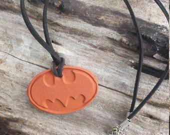 boys/ girls 3D BATMAN Superhero Handmade  terra cotta Aromatherapy / Essential Oil Diffuser Pendant necklace