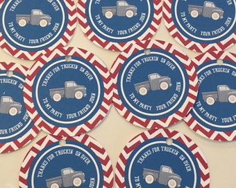 VINTAGE TRUCK Theme Party Birthday or Baby Shower Favor Tags or Stickers Set of 12 {One Dozen} - Party Packs Available