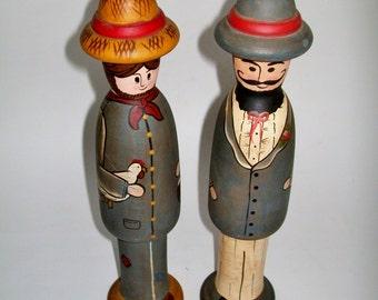 Vintage Folk Art Wood Figurines Hand Painted Artist Signed Country Plus Set of 2 1983