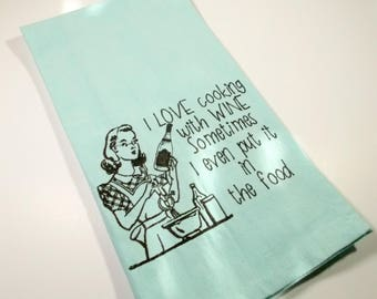 Gift for wine lover - Cooking with Wine - Wine Towel - Embroidered Towel - Kitchen Towel - 10 dollar gift - Funny Kitchen Towel - gag gift