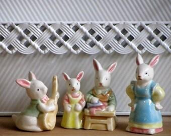 Vintage Enesco Bunny Figurine Set Pastel Dressed Rabbits Easter Basket Bunnies Curio Collectibles