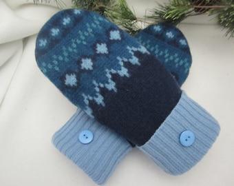 Women's lambswool mittens size small blue Fairisle design fleece lined Birthday gift Valentine gift RTS