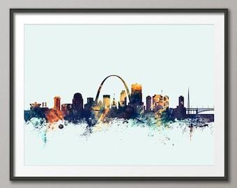Horizonte de St. Louis, impresión del arte de la ciudad de St. Louis Missouri (2555)