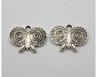 3 Butterfly Charm, 16 x 12 mm Double Sided Antique Silver Tone, ts1145