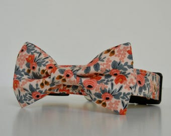 Floral Pink Peach Bow Tie Dog Collar Le Fleur Easter Collar Wedding Accessories Made to Order