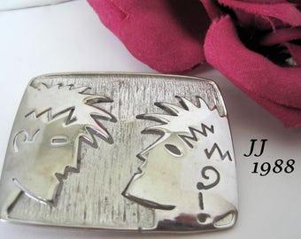 JJ Brooch - 1988 Signed -  People Faces - Silver Tone - Jonette Jewelry