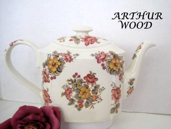 Arthur Wood Teapot - Burgundy Bouquet -  Made in England - Collectible Tea