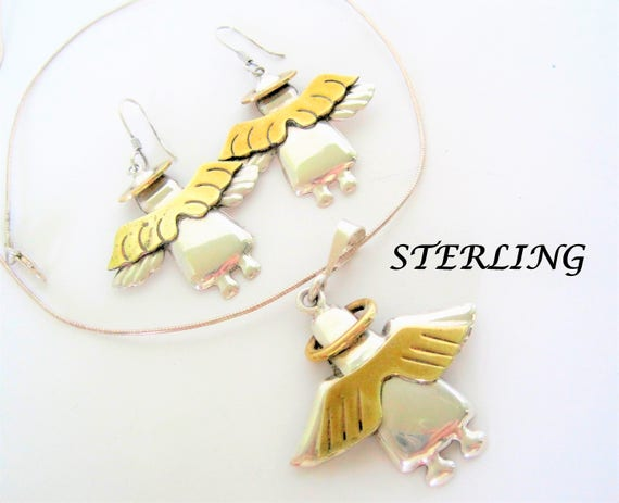 Sterling Angel Pendant Chain Earrings - Brass Wings - 925 Mexico Signed -  16 Inch Liquid Silver Chain