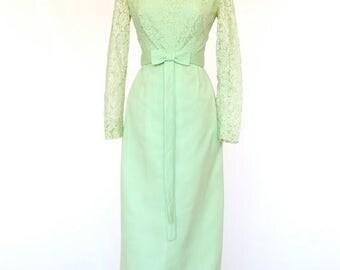 20% OFF SALE 60's Vintage Prom Dress, Soft Green Long Dress, Formal Dress