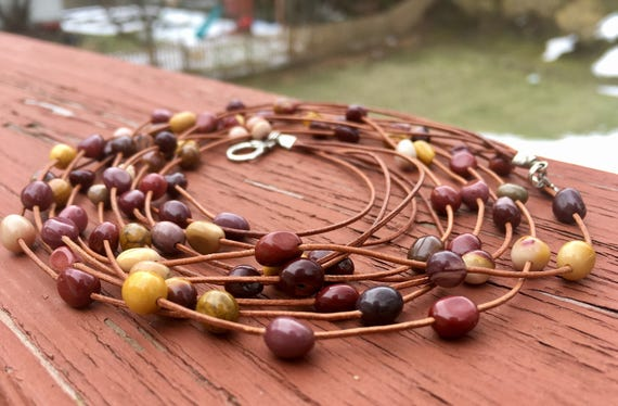 Multi-strand Necklace featuring 5 mookaite beaded leather cord