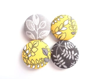 Yellow Magnets, Gray Magnets, Fridge Magnets, Refrigerator Magnets, Leaf Magnets, Nature Magnets, Magnetic Board Magnets, Fabric Magnets