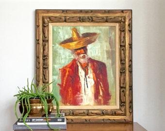 Vintage Oil Painting Portrait Spanish Man Gentleman Caballero Original Framed Art Mid Century Decor