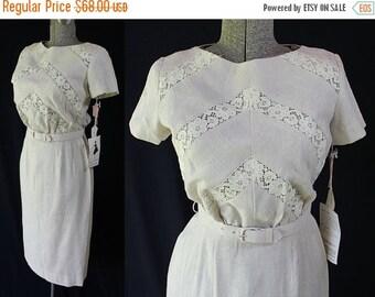 On Sale 50s 60s Minx Modes Deadstock Wiggle Dress Linen Lace Sheath Skirt
