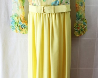 40%OFFSALE 60s 70s Dress, Vintage Wedding, Prom, Yellow, Watercolor, Organza