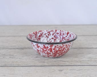 4 Vintage Red Mottled Swirl Graniteware Bowls Granite Ware Enamel Ware Bowls