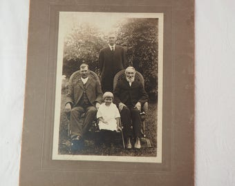 Antique Photograph- Large - Four Generations- 1920's-1930's - Suits, White Dress- Grandfather/father/son/daughter- Vintage