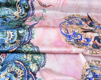 """Stretchy silk Satin Fabric - Chinese style Dragon and Phoenix - pink - 53""""  16 m/m 100% silk fabric for cheongsam, dresses - 1 fixed piece"""
