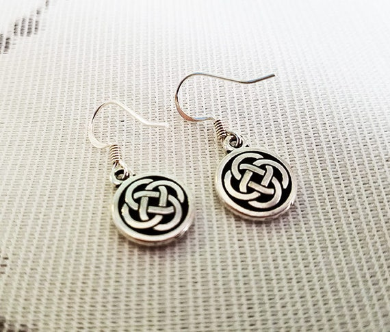 Celtic Knot Round Earrings - Antique Silver Plated Pewter