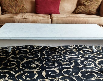 White French Hollywood Regency Rectangle Faux Marble Top Coffee Table