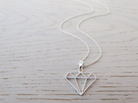Silver Diamond Necklace - Geometric - Sterling Silver