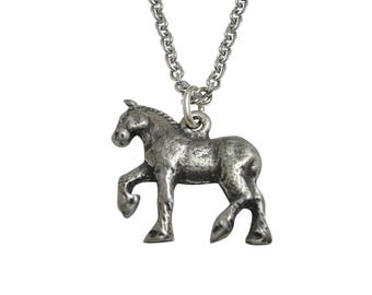 Silver Toned Prancing Textured Horse Pendant Necklace