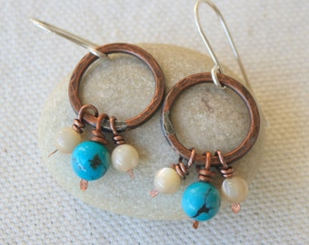 Small Copper Hoops Turquoise and Mother of Pearl Beads Sterling Silver Ear Wires