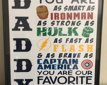 Custom Daddy You are our Superhero Art- You are my Superhero - Gifts for Dads - Father's Day Gifts - Wall Decor