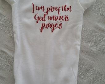 Proof that God answers prayers onesie