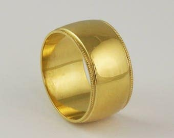 Hand Milgrain Edge 10mm Super Wide Cigar Band  - Solid Gold Heavy Ring - Mens Womens Unisex - 14k 18k 22k