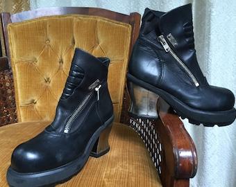 SALE. WERE 149. DESTROY Black Leather Platform Boots - Zip Ankle Boots Silver Chrome Heel - Eu 40 41 Womens 9 9.5 - 90s Cyber Punk Club Kid