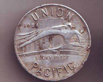 Union Pacific Pullman Car Aluminum ALCOA Lucky Piece Exonumia 1934