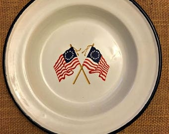 Vintage decorative metal low bowl/plate for use or display with thirteen colonies flags