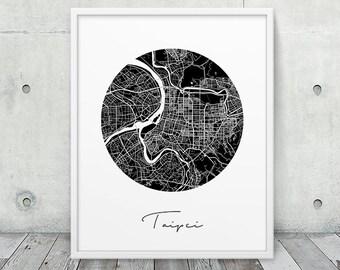 Taipei Urban Map Poster. Taipei City Street Map Print. Black White Taipei Taiwan Print. Abstract Circle Map Decor Travel Gift. Printable Art