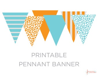 Printable Pennant Banner - Boy Baby Shower - Elephant Pennant Banner - Elephant Baby Shower Theme - Triangle Banner - Orange and Aqua