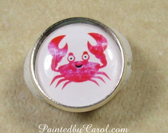 Crab Ring, Cartoon Crab Jewelry, Crab Gifts, Nautical Ring, Sea Life Ring, Ocean Life Ring, Beach Jewelry, Beach Ring, Nautical Gifts