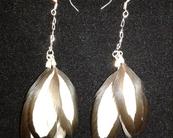White and black laced hen feather Earrings