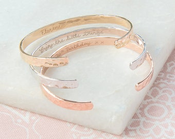 Personalized Hammered Open Bangle - engraved with your words - available in silver, rose gold and gold plated - Merci Maman Jewelry Gift