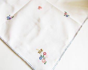 German Vintage White Cotton Embroidery Spring Tablecloth with Flowers and Dragonflies, Rustic Bavarian Home Decor