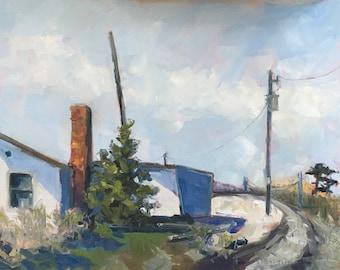 Original art-Landscape Oil Painting-Plein Air-By the shore-Fine art-Modern art-Affordable wall art-Contemporary painting-Buildings-Sunlight