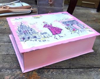 Jewelry Box, Keepsake Box, Trinket Box, Dresser Decor, Shabby Chic, French Country, Paris, Pink White Gray, Metal Box, Tin Box, Mirror Box,