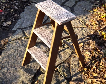Furniture, Ladder, Decoupage, Step Stool, Rustic, Farmhouse, Country Market Ladder, Shelf, Repurposed, Plant Shelves, Bookshelf, Plant Stand