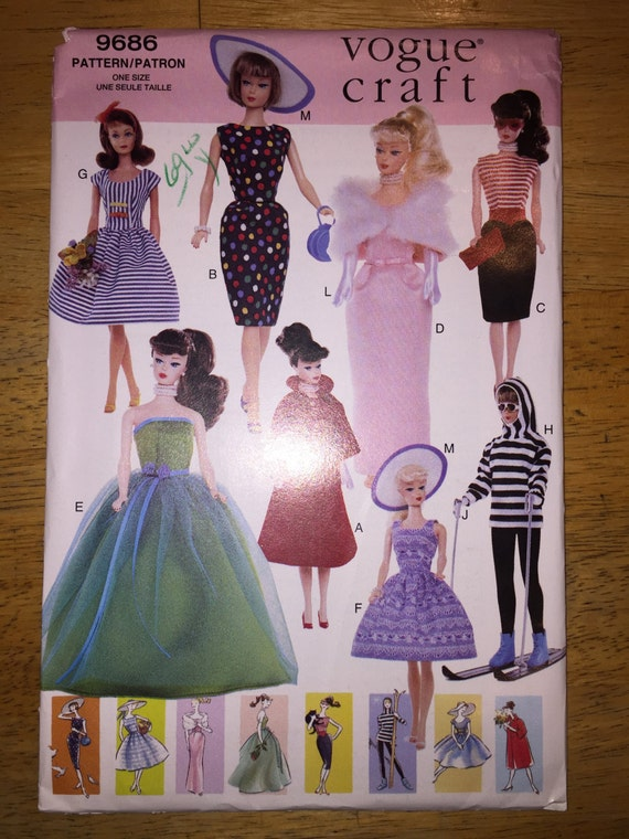 "Vogue Crafts Sewing Pattern 9686 11 1/2"" Fashion Doll Clothes"