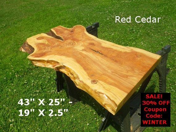 Live edge red cedar finished wood slab natural edge desk top for Finished wood slabs