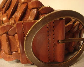 Boho Vintage Woven Braided Tan Brown Distressed Leather Belt