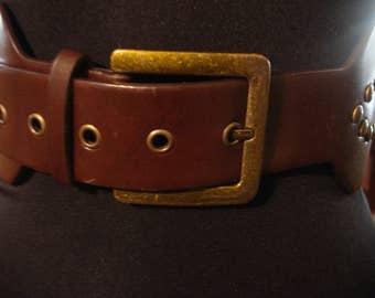 Boho 1980s Vintage Dark Brown Leather Studded Square Buckle Belt