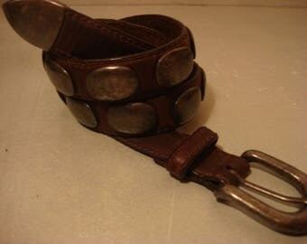 Vintage 1980 Brown Distressed Concho Mexican Southwestern Unisex Belt